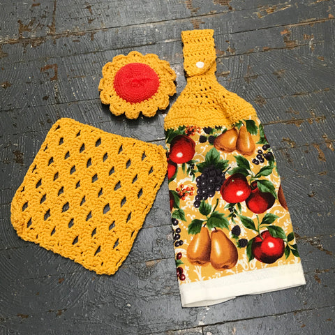 Crocheted Kitchen Set Dish Rag Towel Dishcloth Scrubbie Combo Yellow Red Fruit