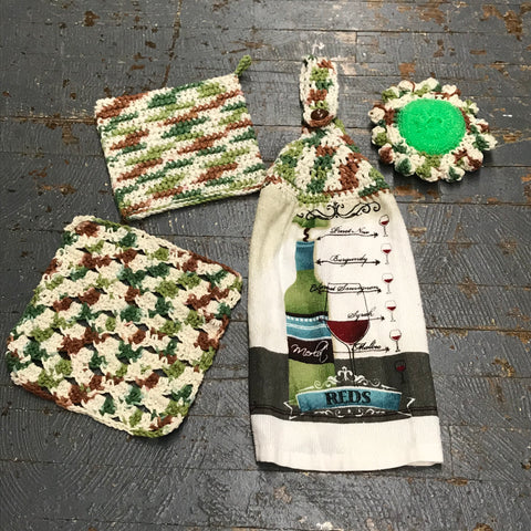 Crocheted Kitchen Set Dish Rag Towel Dishcloth Pot Holder Scrubbie Combo Green Brown Wine