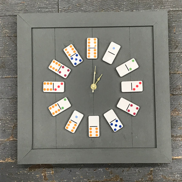 "13.5"" Square Wooden Domino Clock"