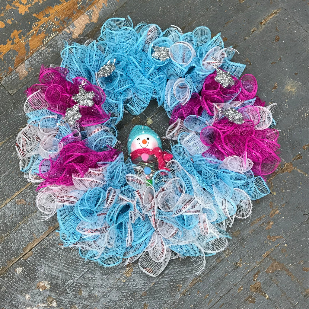 Frosty Snowman Winter Holiday Wreath Door Hanger