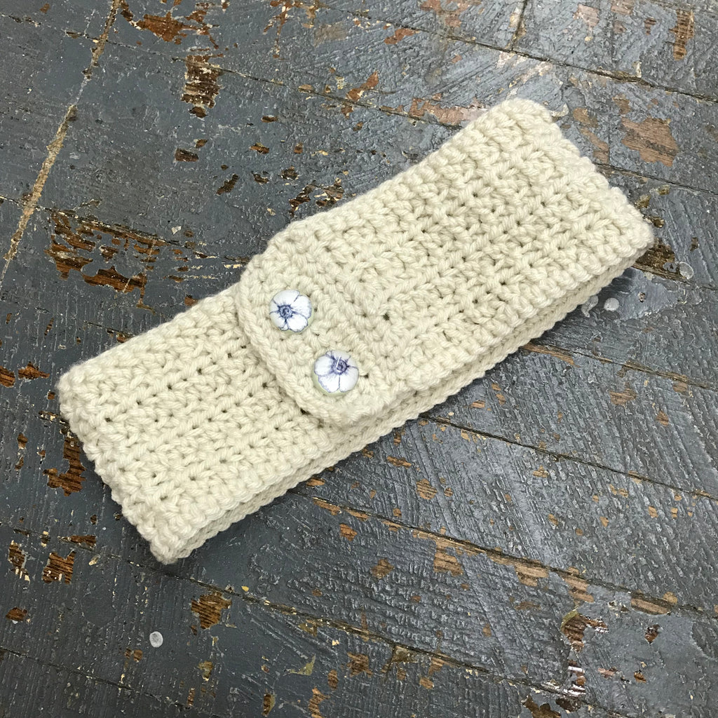 Crocheted Headband Winter Earmuff Tan Floral Button