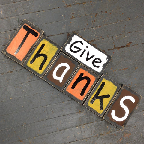 Hand Crafted Wood Block Two Sided Give Thanks Jingle Bells Decoration