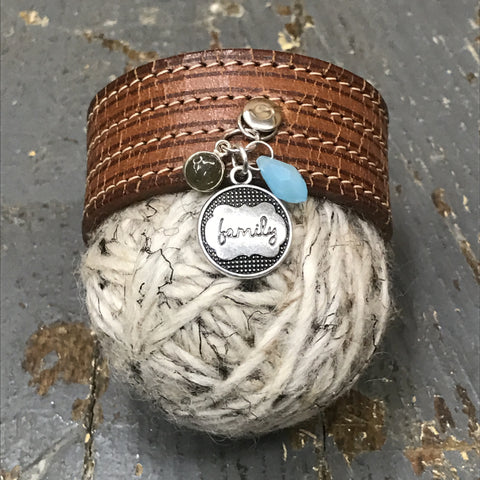 Brown Leather Family Dangle Snap Bracelet