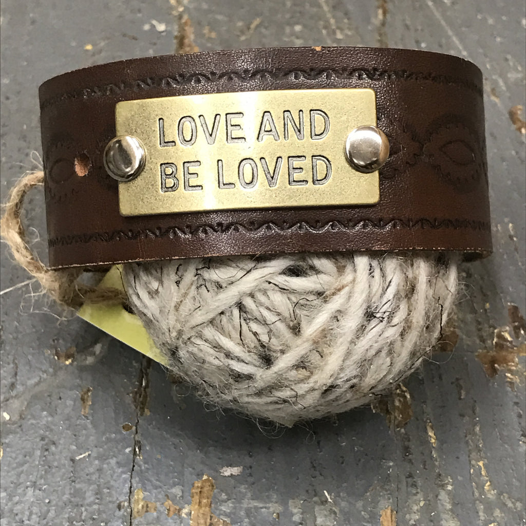 Brown Leather Love and Be Loved Belt Snap Bracelet