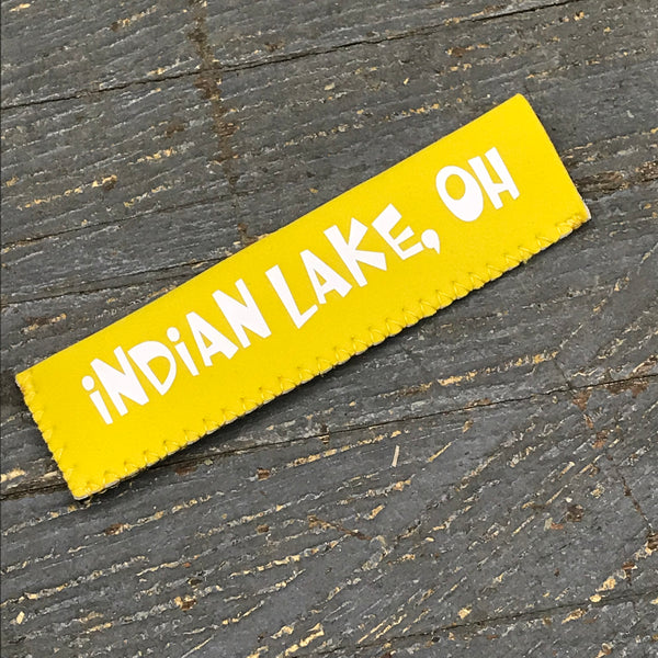 Freezer Pop Icee Freeze Hugger Coozie Holder Indian Lake Ohio Yellow