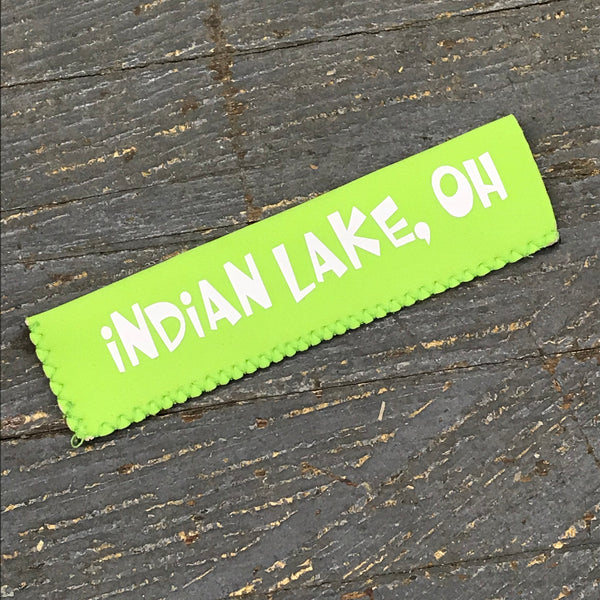 Freezer Pop Icee Freeze Hugger Coozie Holder Indian Lake Ohio Green
