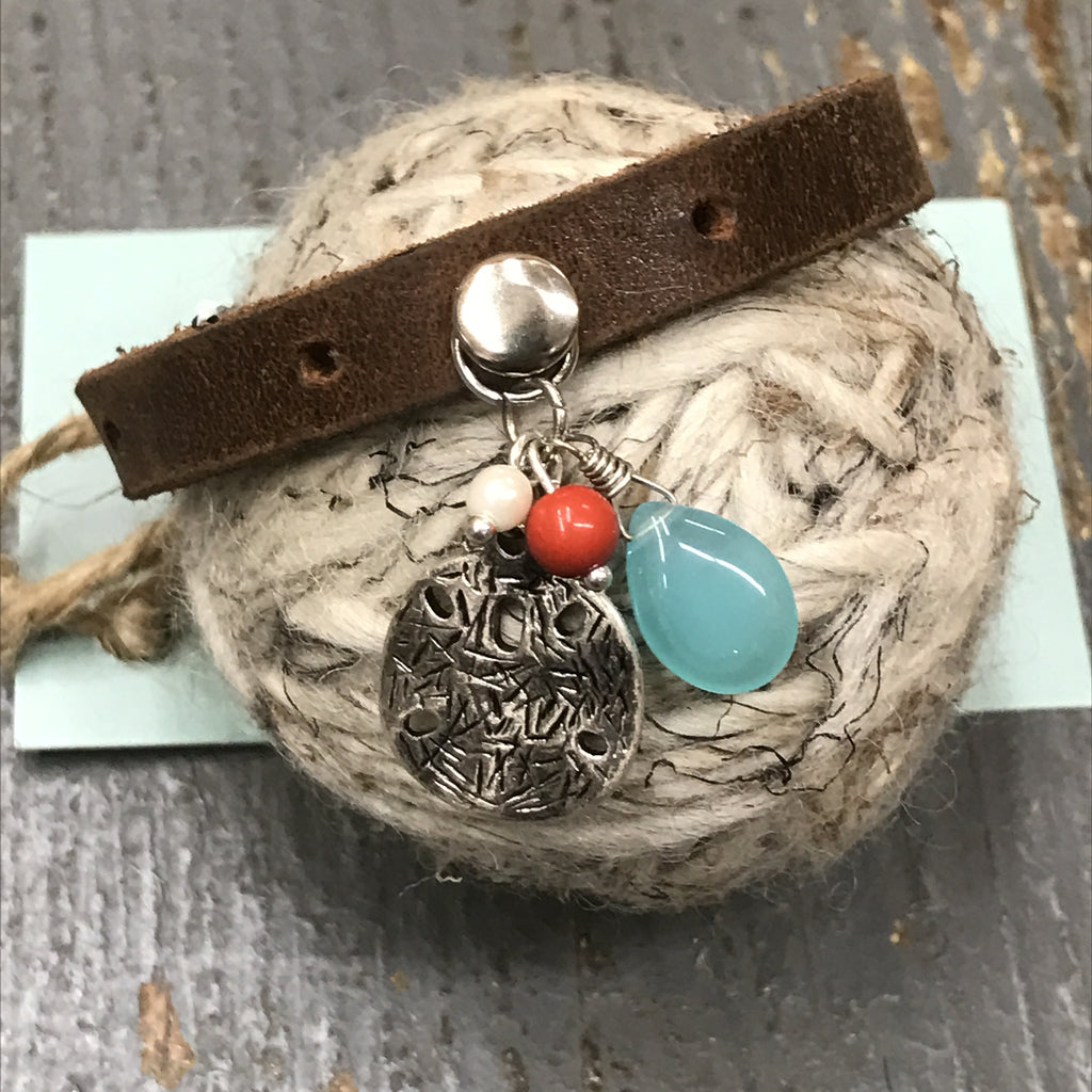 Brown Leather Sand Dollar Dangle Snap Bracelet
