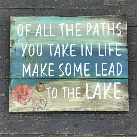 Wood Pallet Path to the Lake Shell Sign Wall Hanger Door Decor