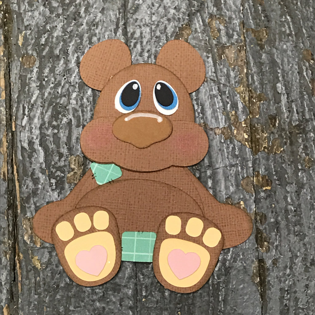 Paper Scrapbook Embellishment Gift Package Tag Baby Zoo Animal Brown Bear
