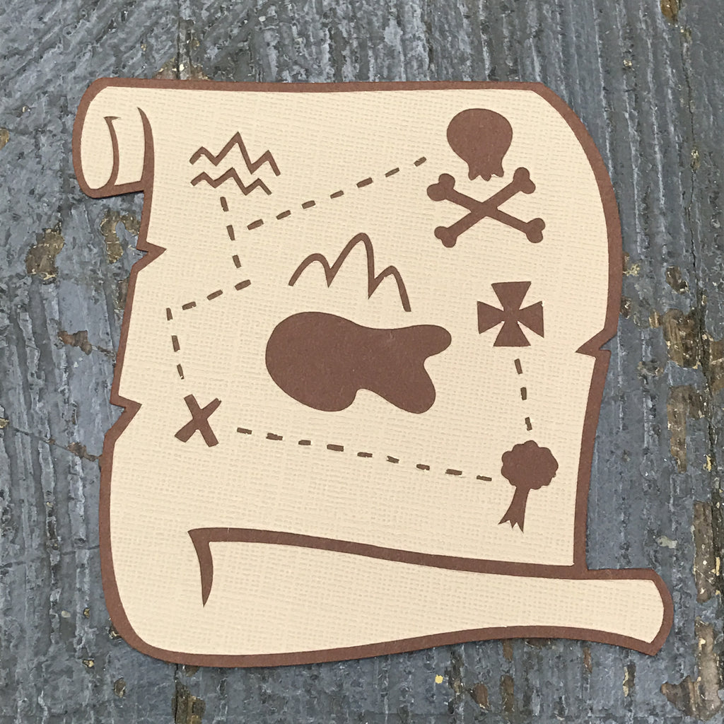 Pirate Treasure Map Handmade Cut Out Paper Scrapbook Embellishment Gift Package Tag