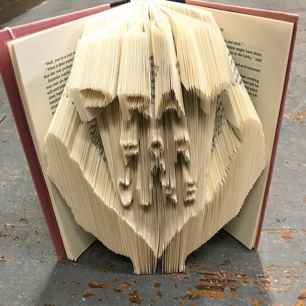 Folded Book Art Custom Folded Pages Hardback Book Word Pray for Cure