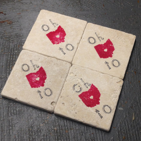 Stone Coaster Set of 4 Stamped OHIO Made by The Vintage Violet