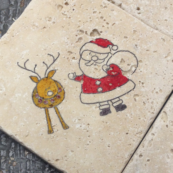 Stone Coaster Set of 4 Christmas Holiday Stamped Santa Claus Reindeer