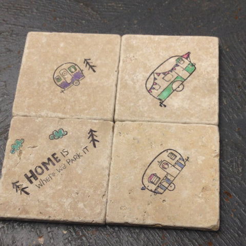 Stone Coaster Set of 4 Camping Home Park Camper Stamped by The Vintage Violet