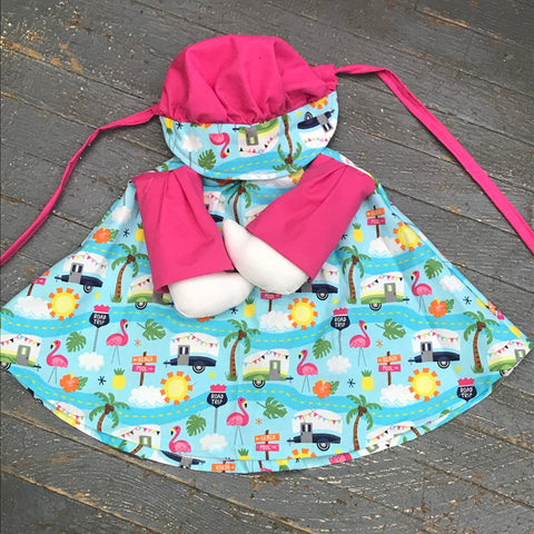 Goose Clothes Complete Holiday Goose Outfit Pink Flamingo Retro Camper Dress and Hat