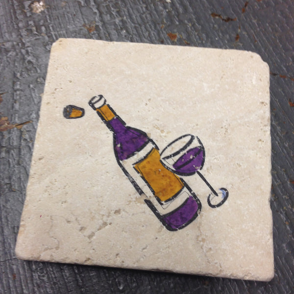 Stone Coaster Set of 4 Wine Glass Wine Bottle Stamped by The Vintage Violet