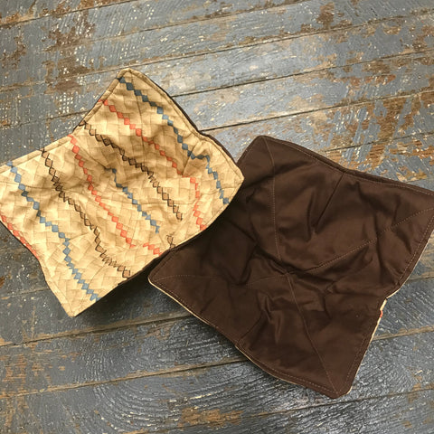 Handmade Fabric Cloth Microwave Bowl Coozie Hot Cold Pad Holder Brown Neutral Tones