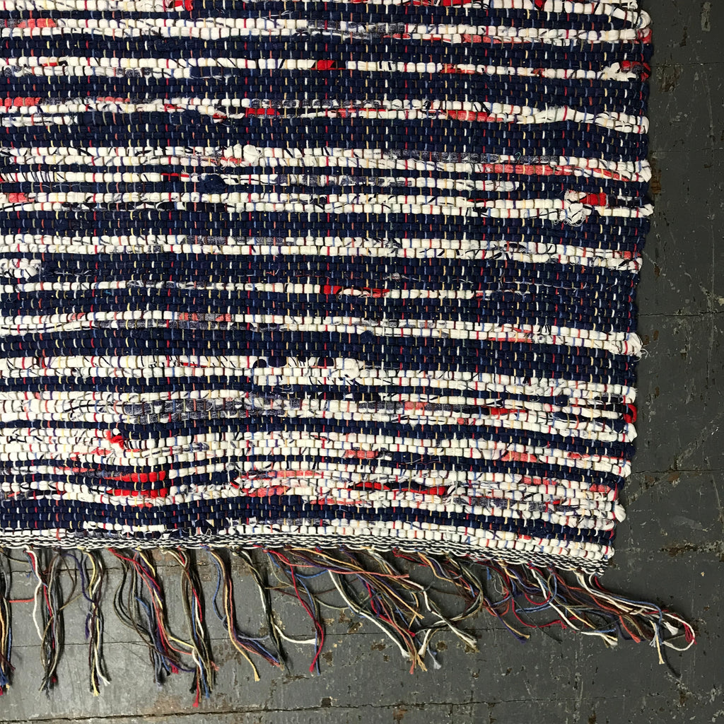 #22 Red Blue White Rag Rug Weaved Table Runner Rug by Dennis