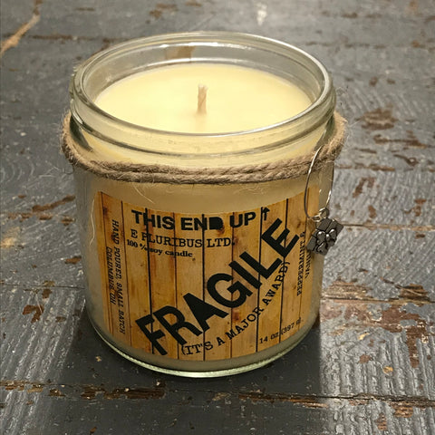 Fragile Major Award Peppermint Vanilla Hand Poured Jar Soy Candle 15oz