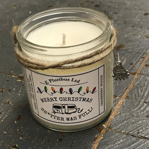 Merry Christmas Shitter Was Full Cranberry Woods Hand Poured Jar Soy Candle 15oz