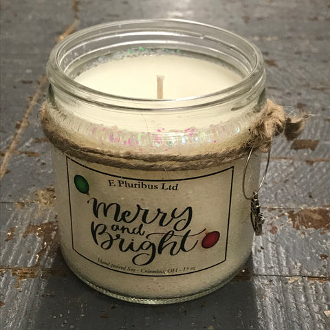 Merry and Bright Winter Candy Apple Hand Poured Jar Soy Candle 15oz