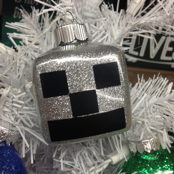 Holiday Christmas Tree Ornament Minecraft Creeper Silver