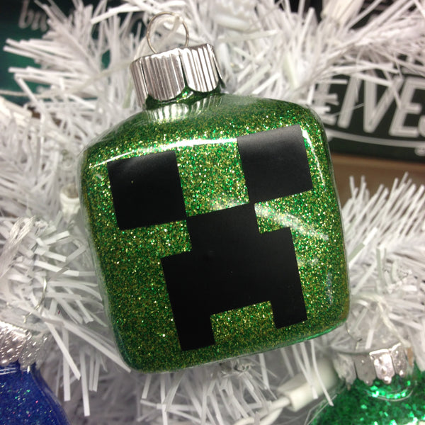 Holiday Christmas Tree Ornament Minecraft Creeper Green