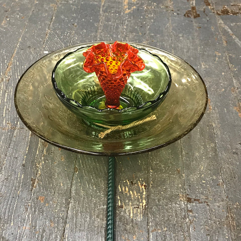Depression Glass Garden Flower Large Yellow Opaque Green Orange Center