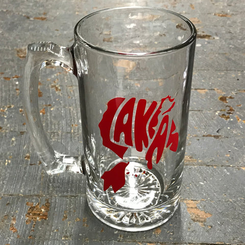 Glass Handled Drinking Mug Indian Lake Lakers