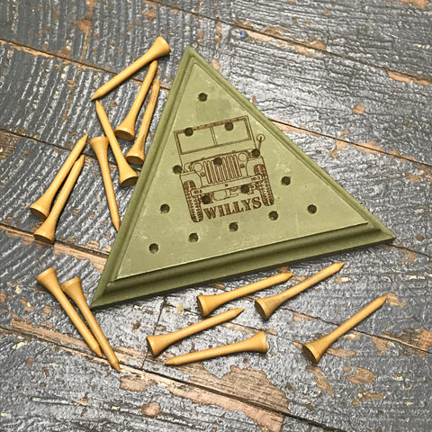 Wooden Tricky Triangle Golf Tee Peg Game Jeep