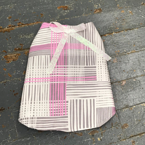 "Pink Grey Plaid Small 12"" Dog Pet Sweater Coat Vest"