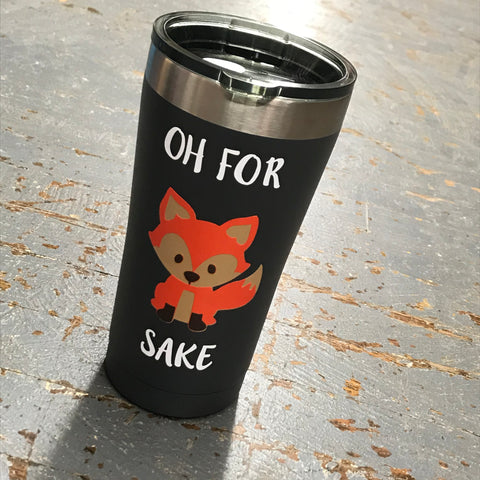 Oh For Fox Sake Emoji Fox Stainless Steel 20oz Beverage Drink Travel Tumbler Black