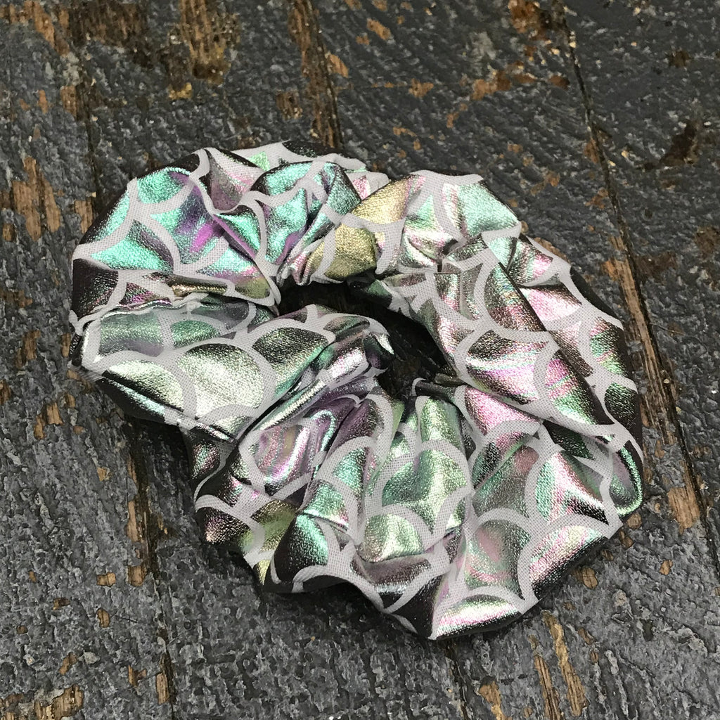 Hair Scrunchie Ponytail Band Holder Iridescent Scale