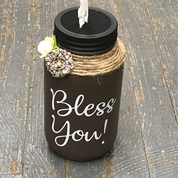 Mason Jar Tissue Holder Bless You Chocolate Brown