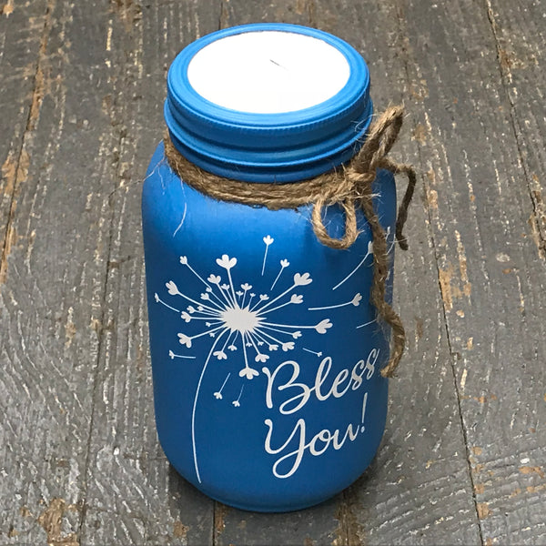 Mason Jar Tissue Holder Bless You Dandelion Peacock Blue