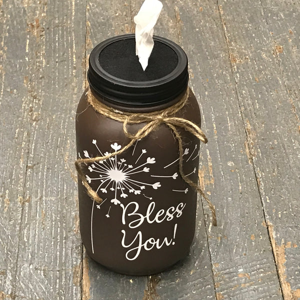 Mason Jar Tissue Holder Bless You Dandelion Chocolate Brown