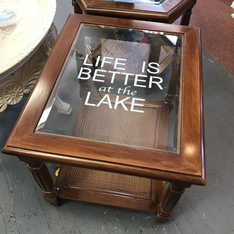Solid Wood Rectangle Glass Top Side End Table