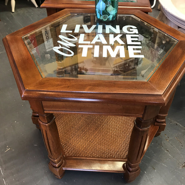 Solid Wood Round Glass Top Side End Table