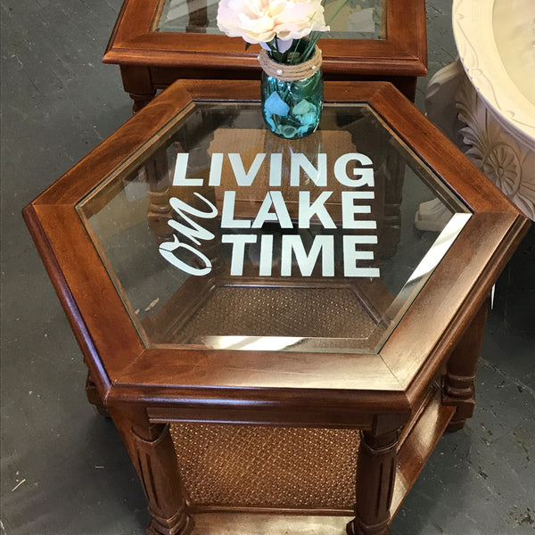 Living on Lake Time Solid Wood Round Glass Top Side End Table