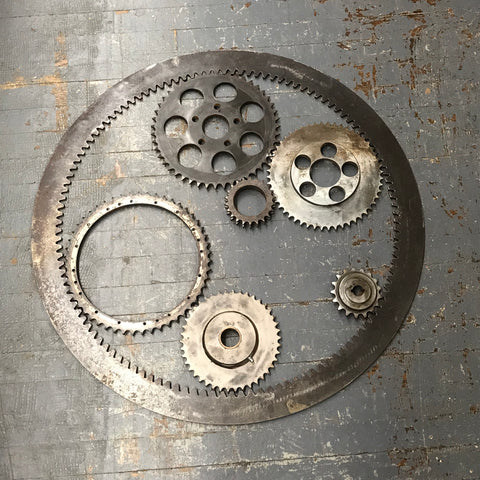 "Upcycled 28"" Wall Hanger Welded Gear Art Sculpture"