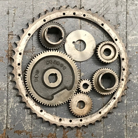 "Upcycled 10.5"" Wall Hanger Welded Gear Art Sculpture"