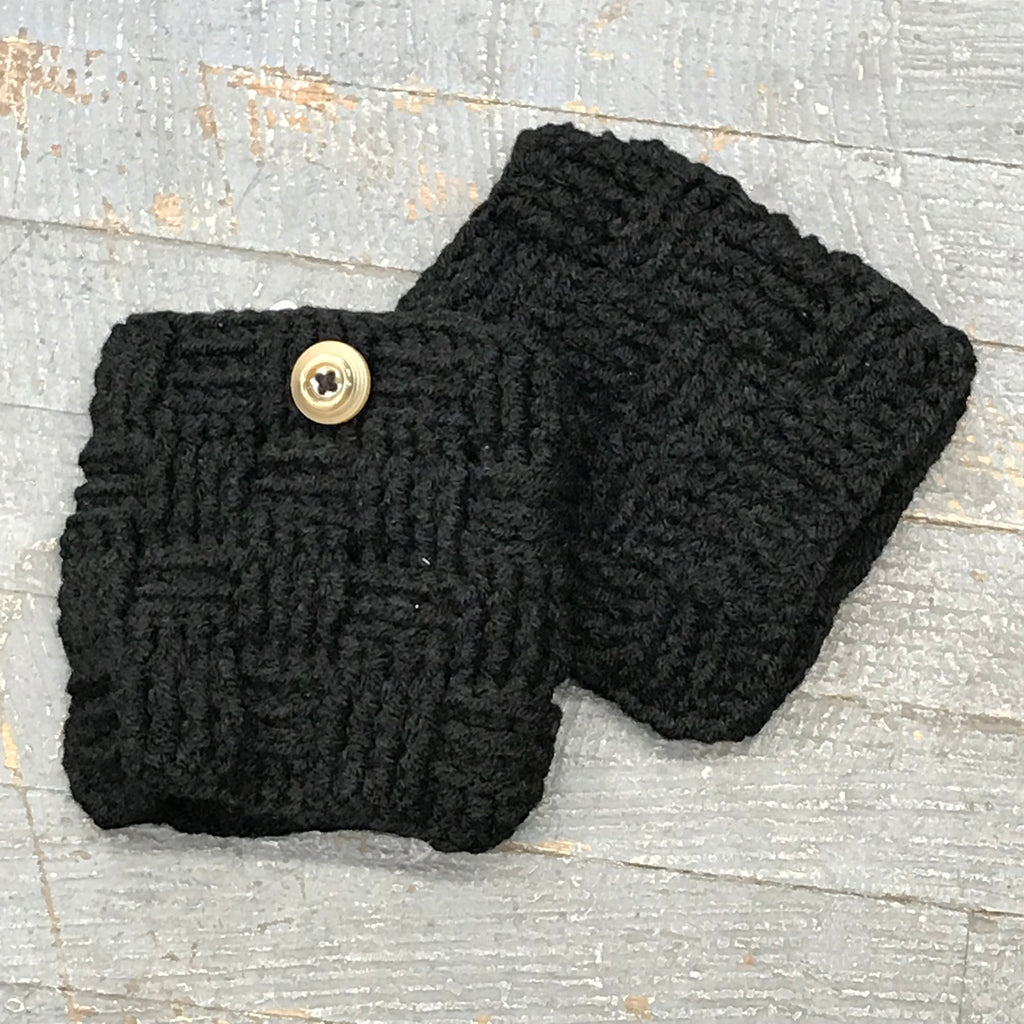 Crocheted Winter Boot Cuff Leg Warmers Black