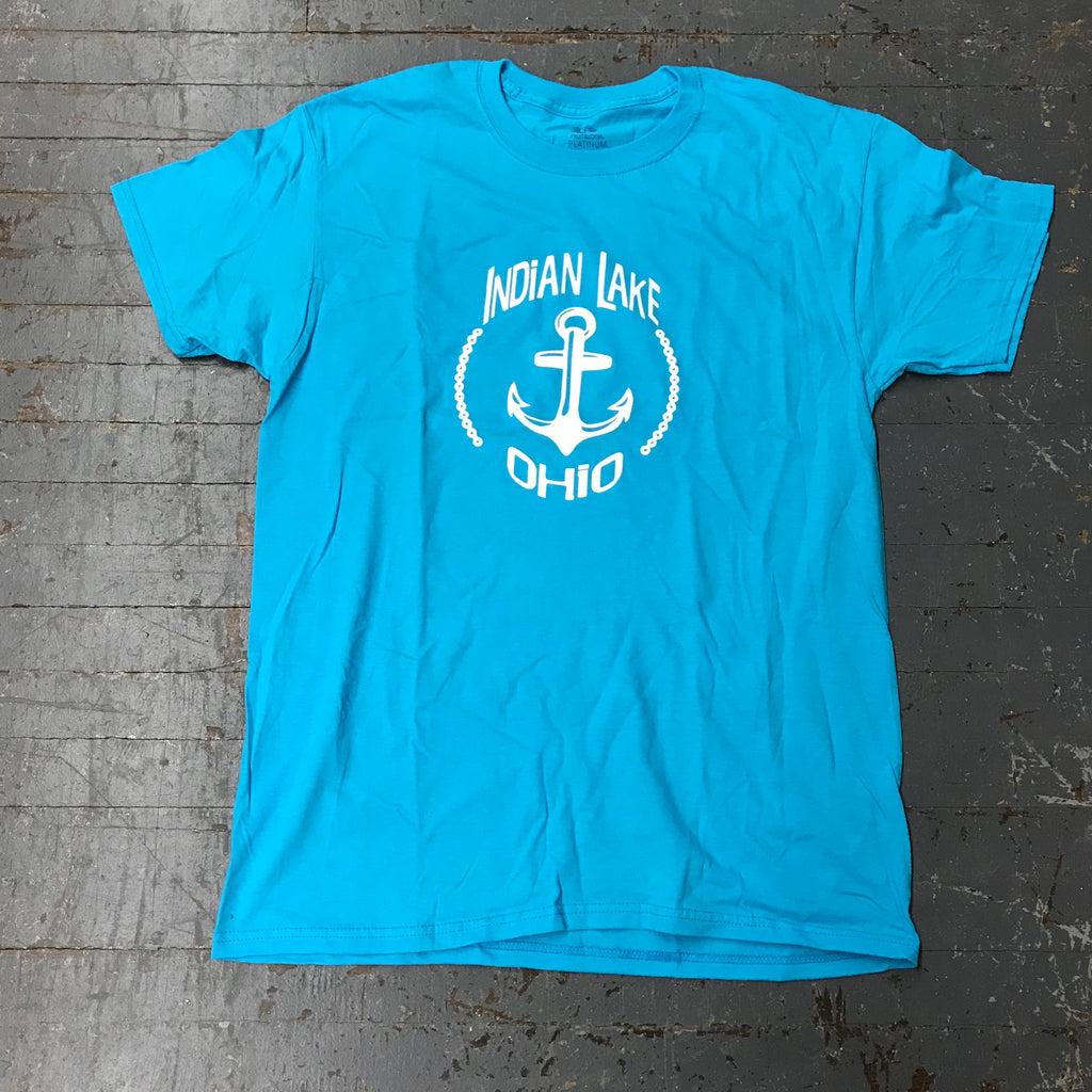 Indian Lake Anchor Graphic Designer Tee Short Sleeve T-Shirt Turquoise Blue