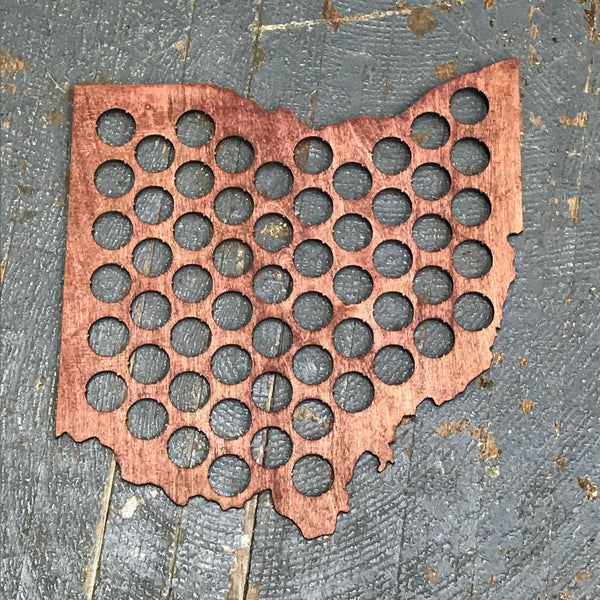 Bottle Cap Holder State of Ohio Brown