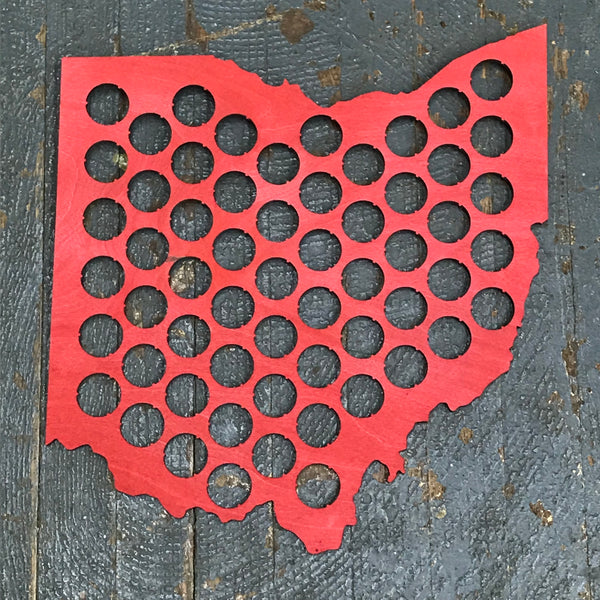 Bottle Cap Holder State of Ohio Red