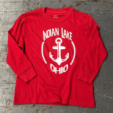 Indian Lake Anchor Graphic Designer Youth Long Sleeve T-Shirt Red