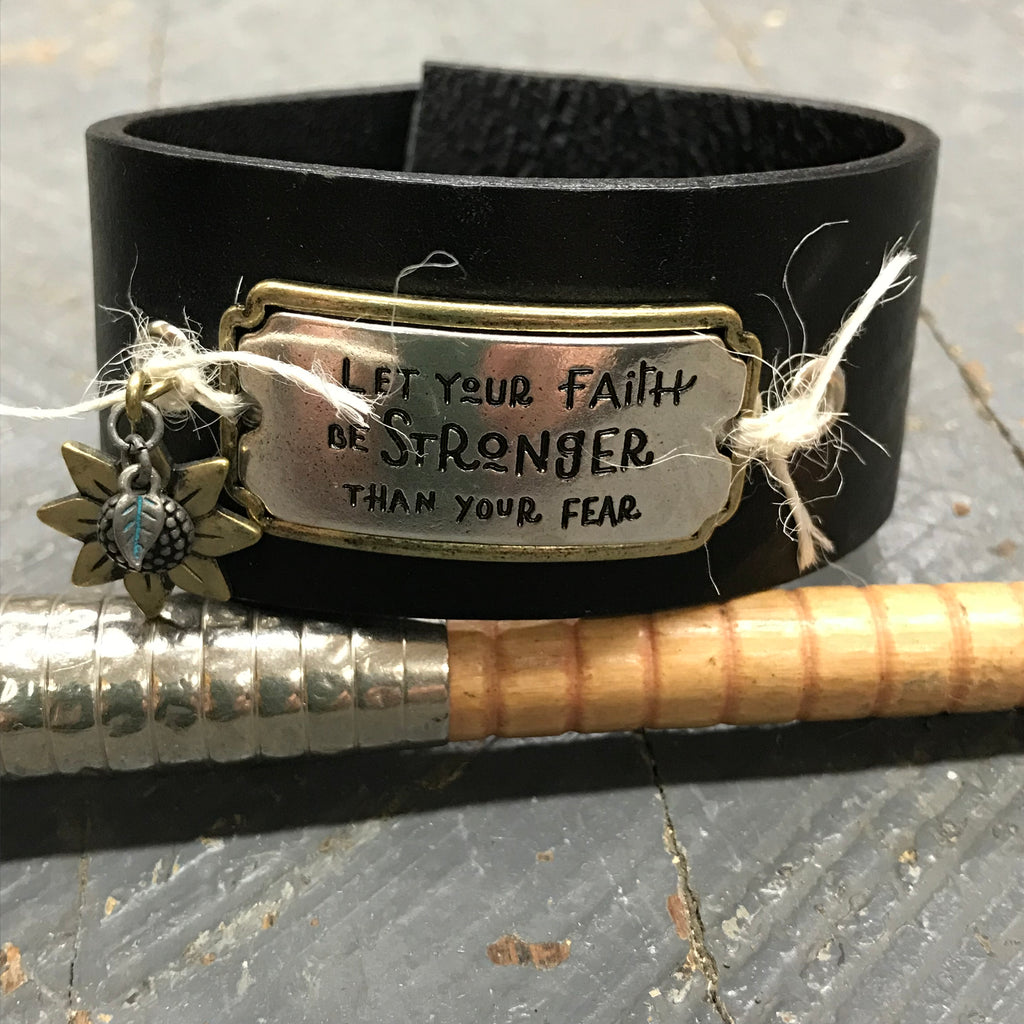 Black Leather Silver Gold Plate Faith Stronger than Fear Belt Snap Bracelet