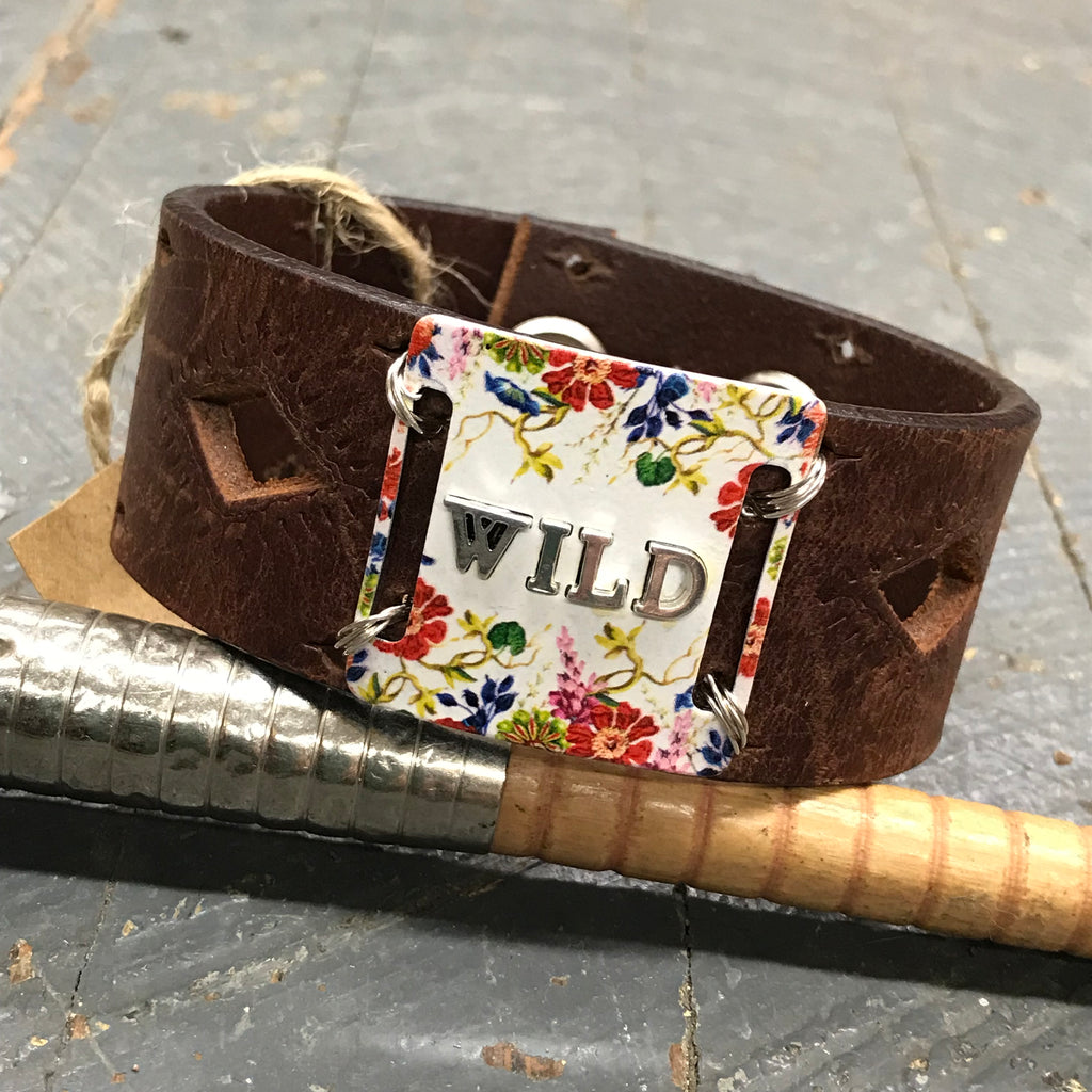 Brown Leather Floral Plate WILD Belt Snap Bracelet