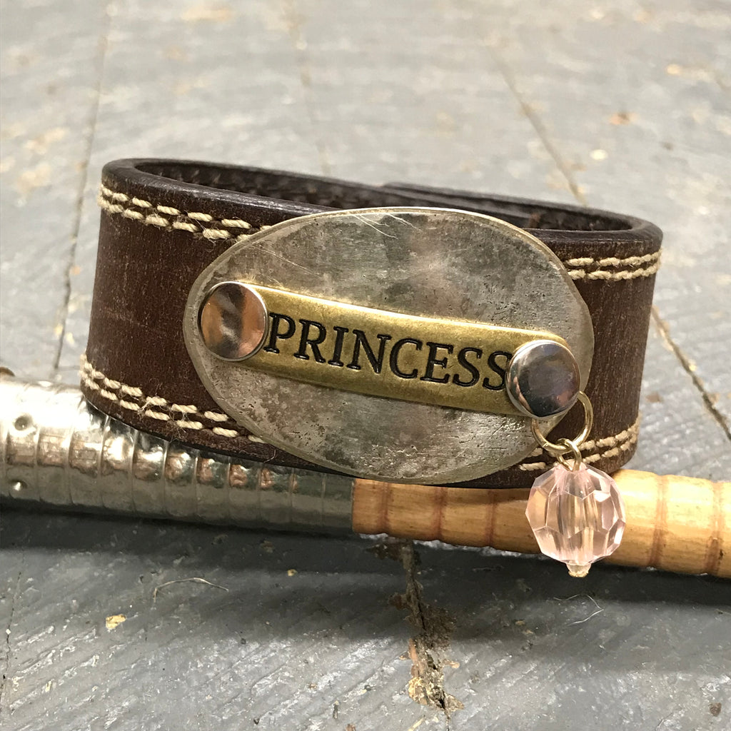 Brown Leather Silver Spoon Plate Princess Belt Snap Bracelet