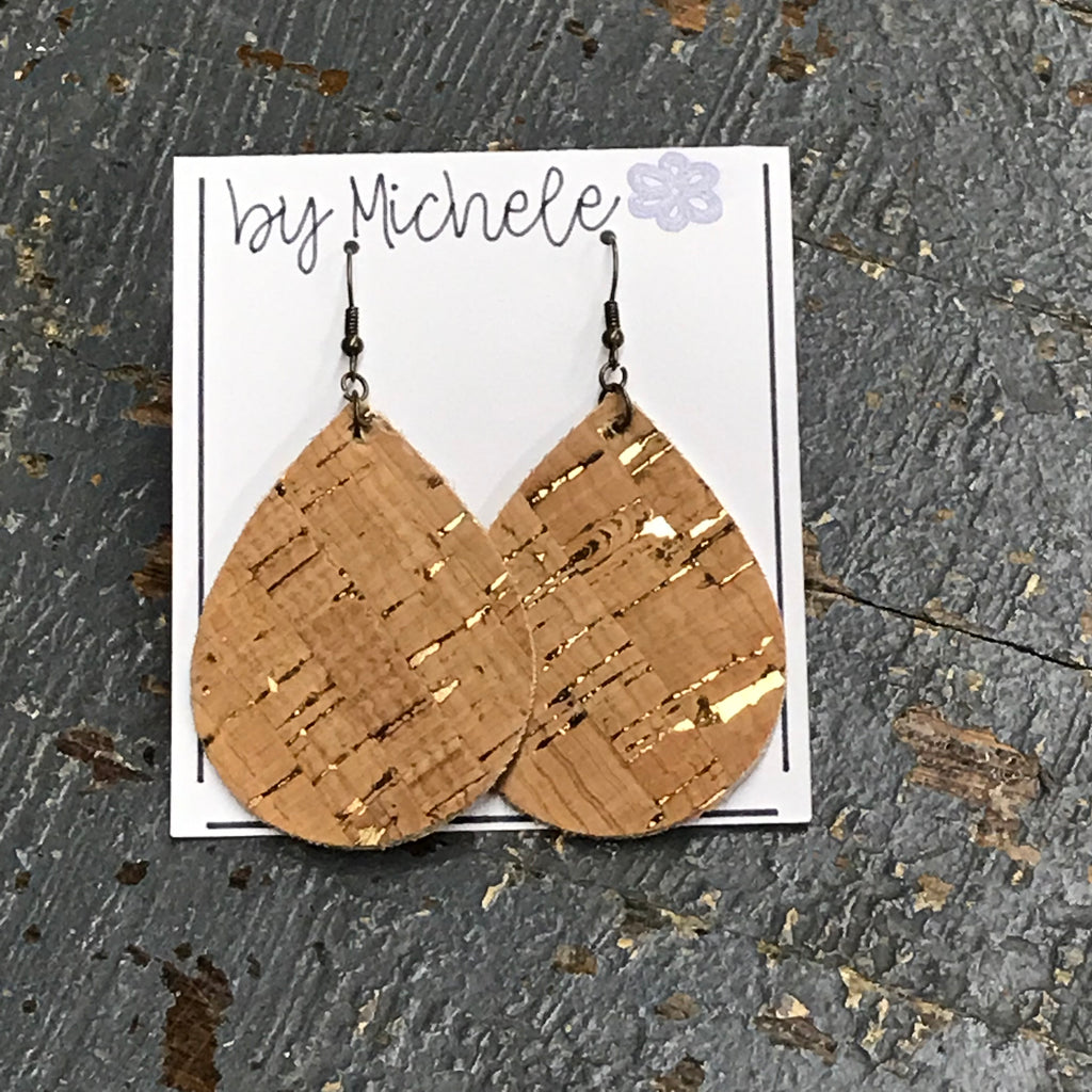 Gold Fleck Cork Faux Leather Teardrop Fishhook Dangle Earring Set